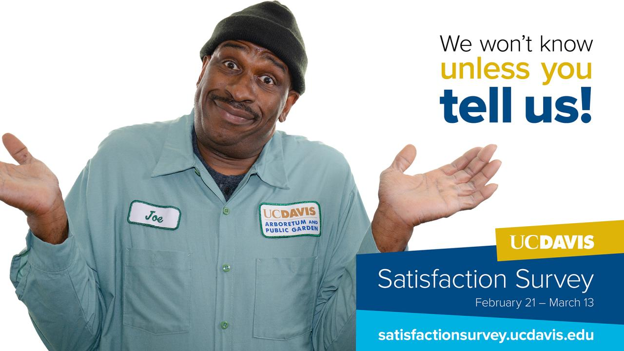 Satisfaction Survey poster with man holding hands up.