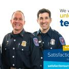 "Three Firefighters with the slogan ""We won't know unless you tell us. UC Davis Satisfaction Survey February 21- March 13 satisfactionsurvey.ucdavis.edu"